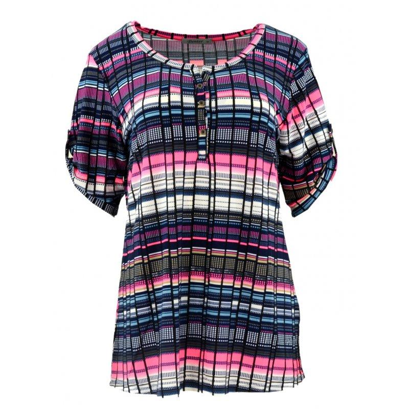 Bluzka damska w kolorowe paski (różowa)