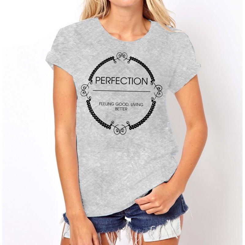Koszulka z napisem PERFECTION (szara)