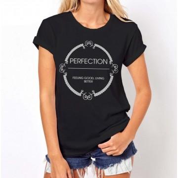 Koszulka z napisem PERFECTION (czarna)