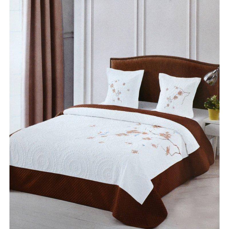 Narzuta Na Łóżko do sypialni 220x240 ELWAY Pikowana Haft 907-04 Narzuta na łóżko z poduszkami