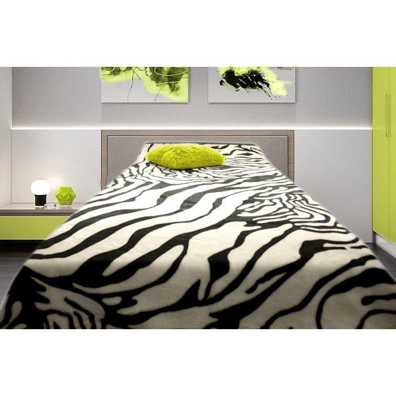 Koc Akrylowy Narzuta ELWAY 200x240 Wzór 523 Zebra Motywy Zwierzęce Narzuta Koc na Łóżko Koce na Prezent Slubny