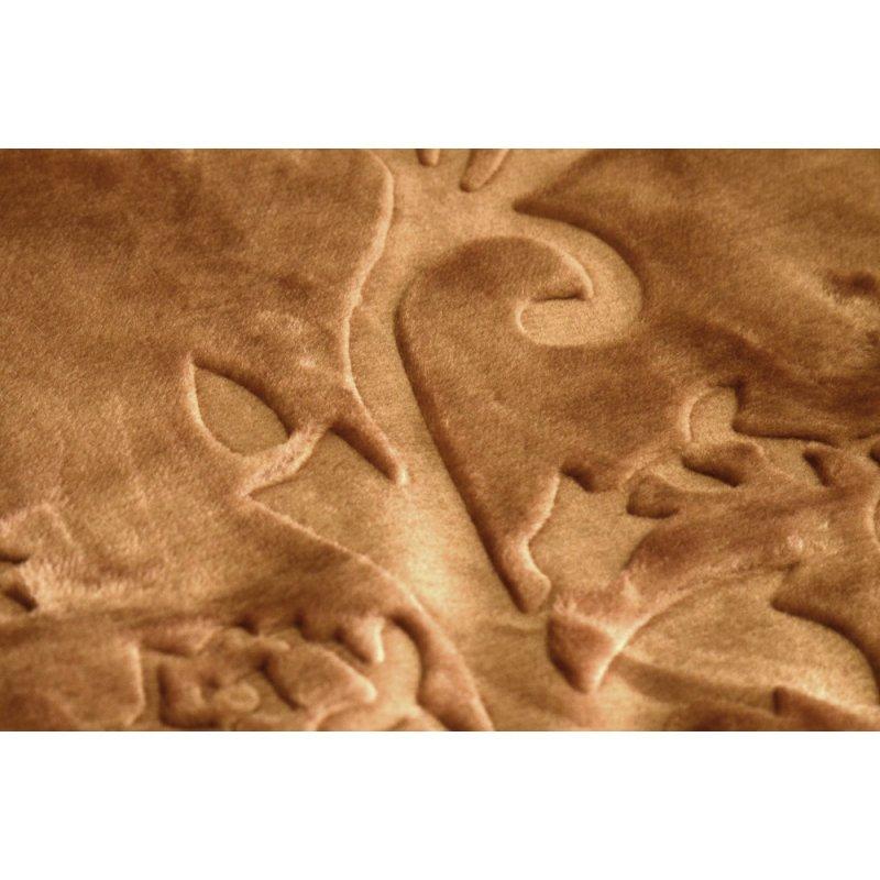 Koc Akrylowy Tłoczony Narzuta ELWAY 160x210 Kolor 7 Wytłaczany Ciemny Beż Beżowy Koc Akrylowy