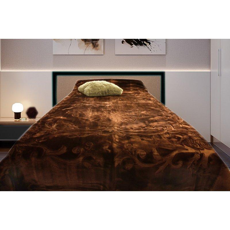 Koc Akrylowy Tłoczony Narzuta ELWAY 200x240 Kolor 12 wytłaczany brązowy czekoladowy