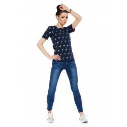 T-Shirt damski we flamingi BD1300.010 (granatowy) bluzka na lato z krótkim rękawem