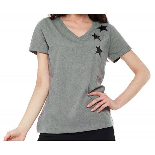T-Shirt damski z cekinami BD1000-520 (khaki) bluzka w cekiny