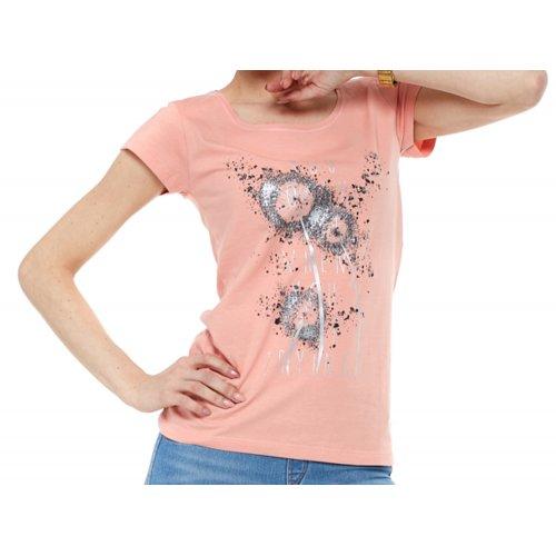 T-Shirt damski z nadrukiem BD900-453 (brzoskwiniowy) koszulka damska bluzka damska na lato