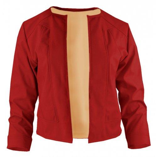 Czerwony żakiet z ekoskóry do sukienki
