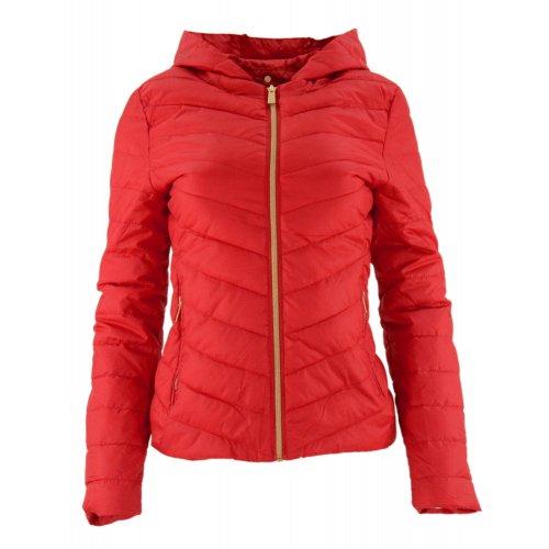 Cienka kurtka damska z kapturem (czerwona)