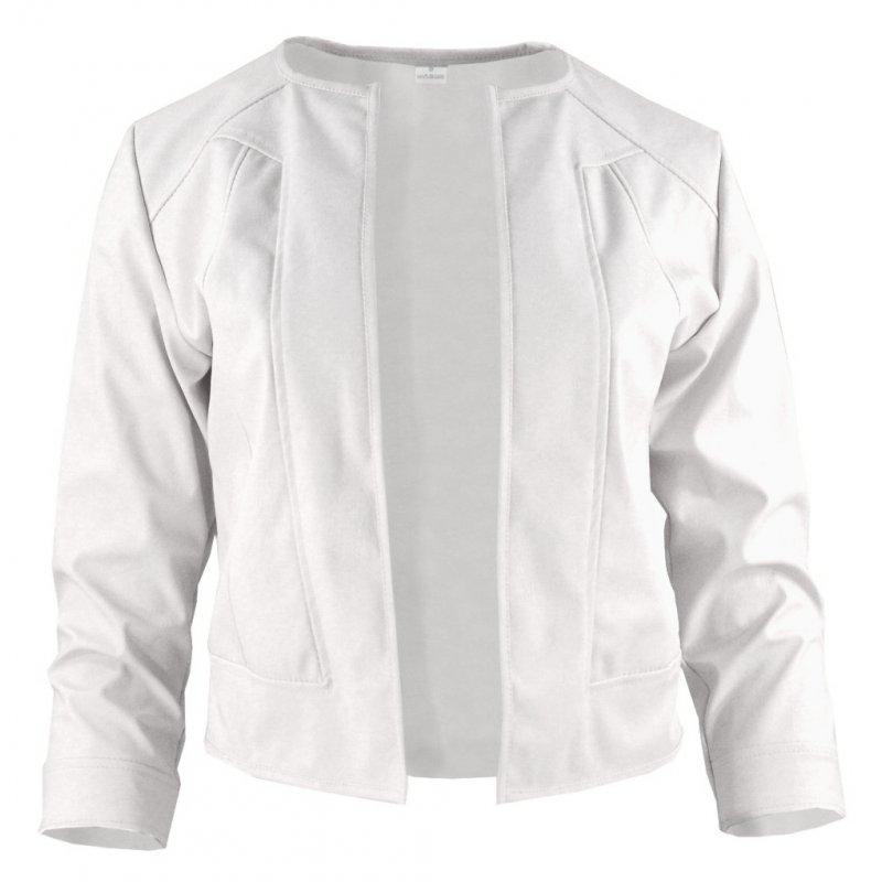 Biały żakiet z ekoskóry do sukienki