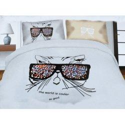 Pościel młodzieżowa 160x200 WZ. 15 Kot w okularach jasny popiel