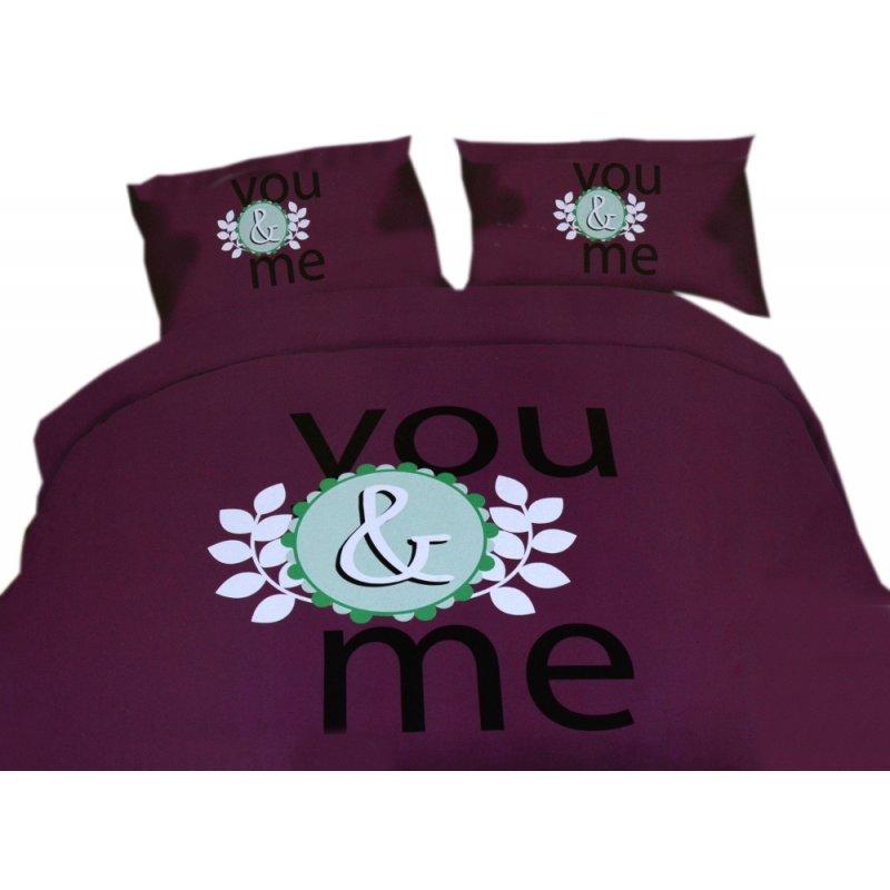 Pościel młodzieżowa 160x200 WZ. 10 fioletowa z napisem you and me