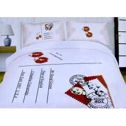 Pościel młodzieżowa 160x200 WZ. 12 Biało Czerwona Usta