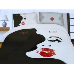 Pościel młodzieżowa 160x200 WZ. 11 Biało Czarna Usta