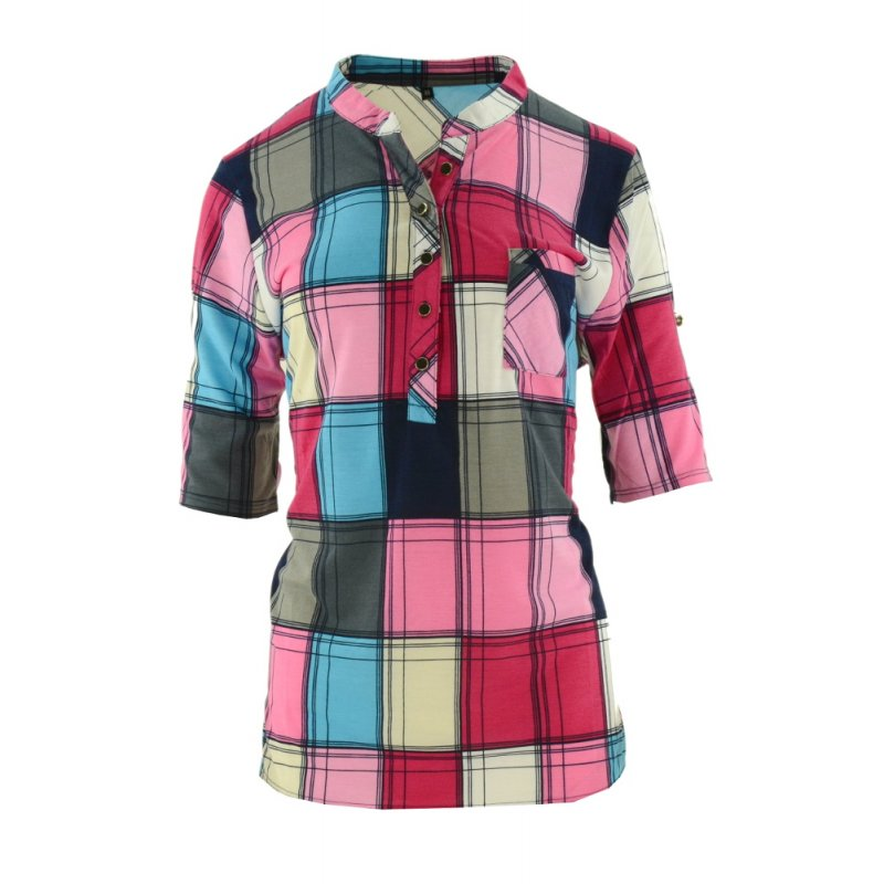 Bluzka koszulowa damska w kratę (kolor różowy)