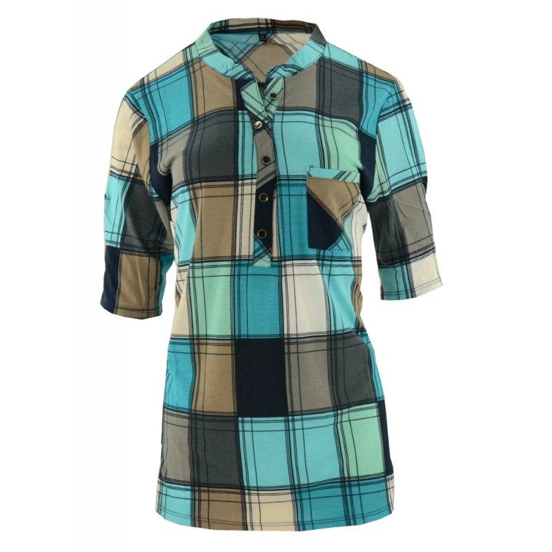 Bluzka koszulowa damska w kratę (kolor turkusowy)