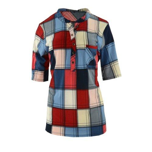 Bluzka koszulowa damska w kratę (kolor czerwony)
