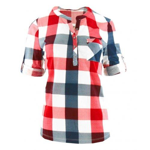Bluzka koszulowa w kratkę (kolor czerwony)