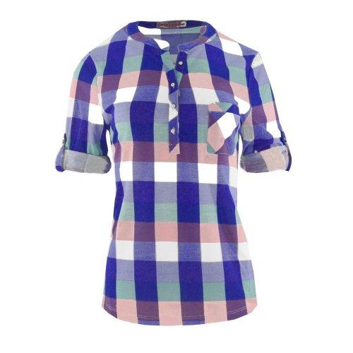 Bluzka koszulowa w kratkę (kolor granatowy)