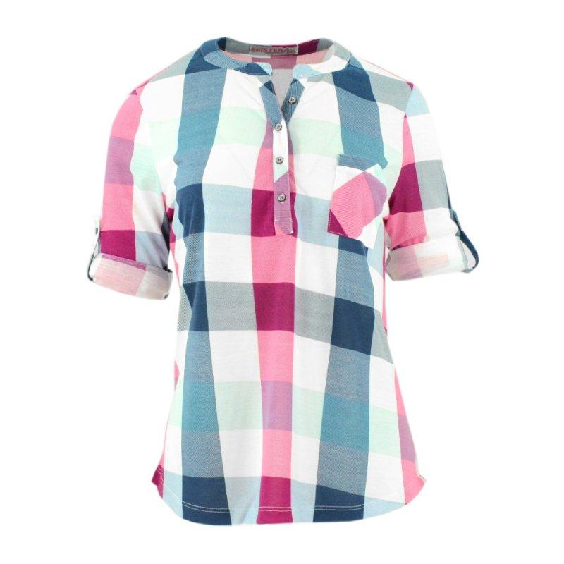 1af9e166a Bluzka koszulowa w kratkę (kolor różowy)   eStilex.pl   Modna i ...