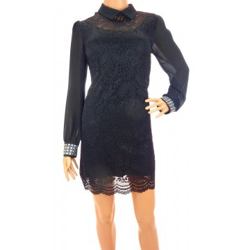 Sukienka z kołnierzem (czarna)