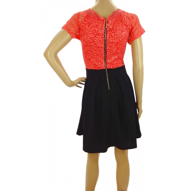 Sukienka rozkloszowana (koralowa)