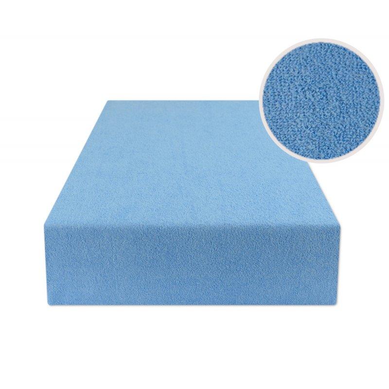 Niebieskie prześcieradło z gumką 140x200 FROTTE Niebieski Prześcieradło Frotte z Gumką 140x200