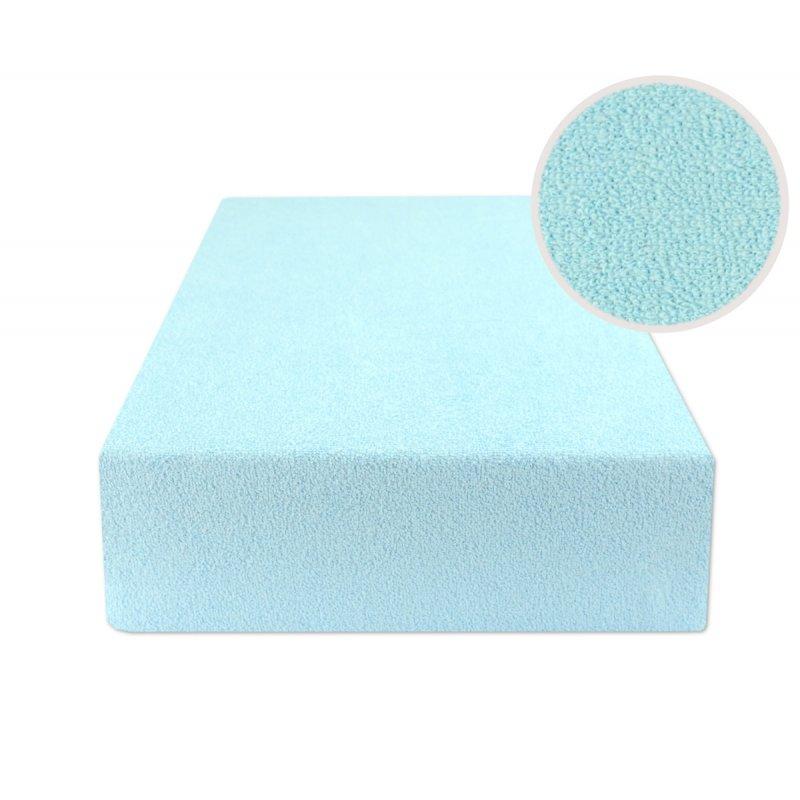 Jasno niebieskie prześcieradło z gumką 160x200 FROTTE Jasny Niebieski