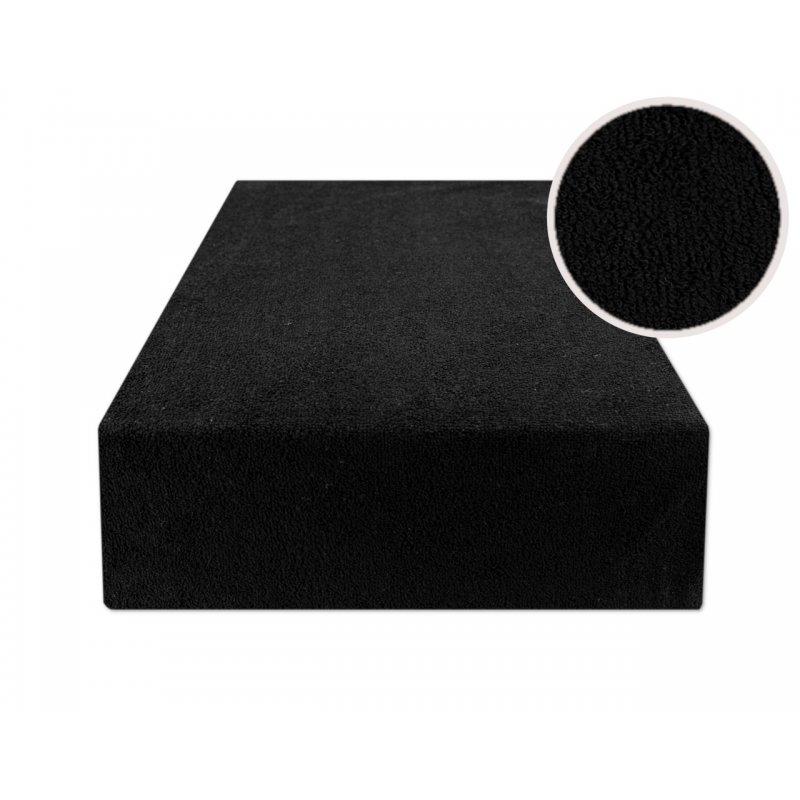 Czarne prześcieradło z gumką 160x200 FROTTE Czarny Prześcieradło 160x200 Czarne Prześcieradło Frotte z Gumką 160x200