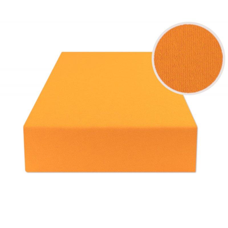 Ciemno żółte prześcieradło z gumką 160x200 JERSEY Ciemny Żółty
