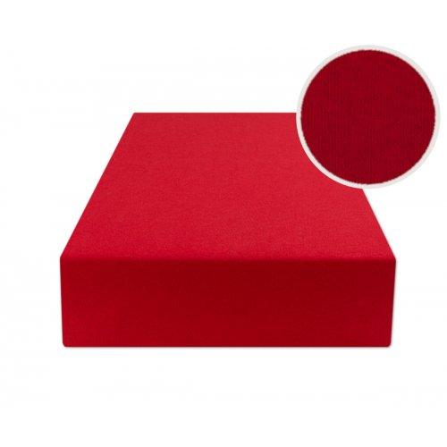 Czerwone prześcieradło z gumką 160x200 JERSEY Czerwony