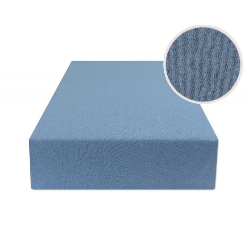 Niebieskie prześcieradło z gumką 160x200 JERSEY Niebieski