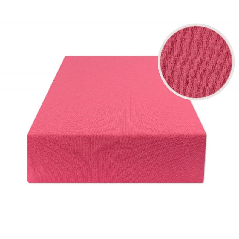 Ciemno różowe prześcieradło z gumką 160x200 JERSEY Ciemny Róż Prześcieradło z Gumką na Materac 160x200
