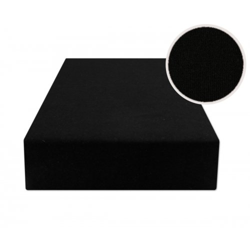 Czarne prześcieradło z gumką 160x200 JERSEY Czarny
