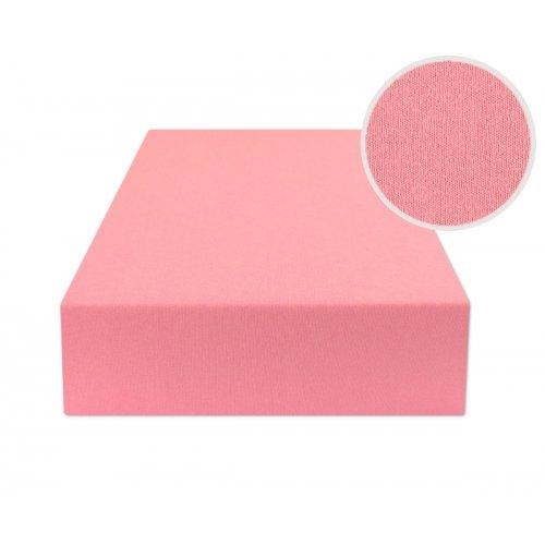 Różowe prześcieradło na łóżko z gumką 140x200 JERSEY Róż