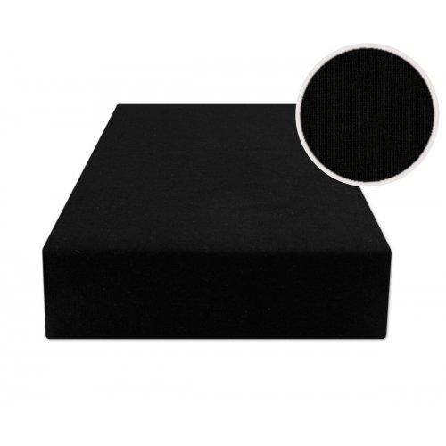 Czarne prześcieradło z gumką 140x200 JERSEY Czarny