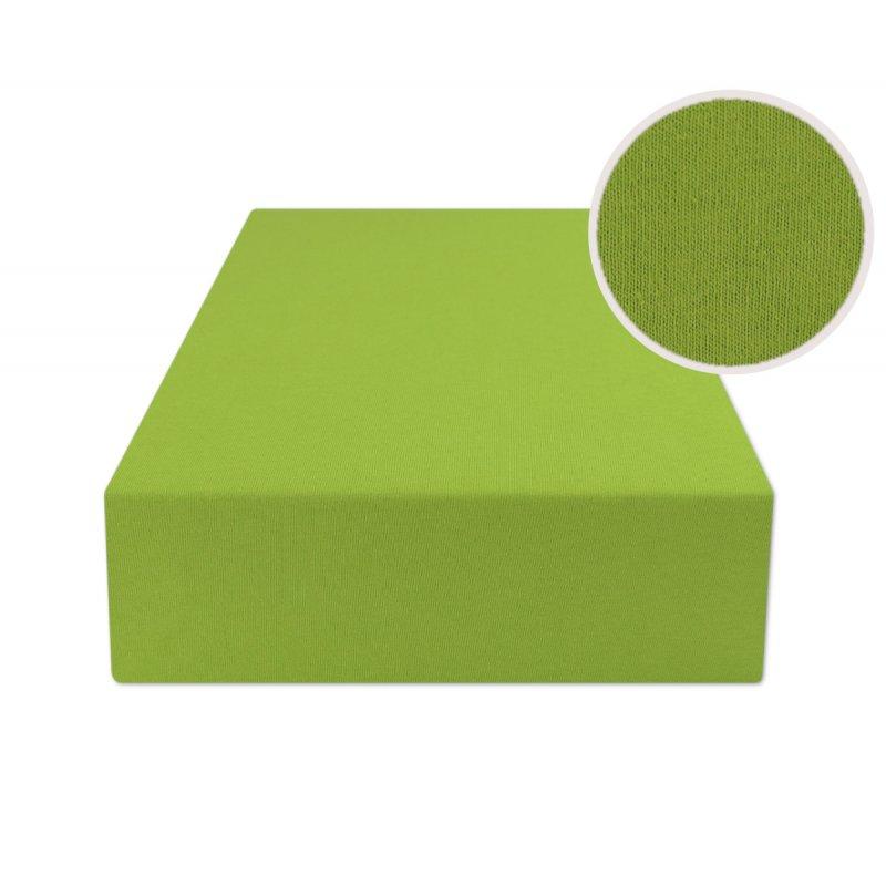 Zielone prześcieradło z gumką 140x200 JERSEY Zielony Prześcieradło Bawełniane z Gumką 140x200