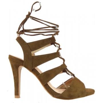 Wiązane sandały na szpilce (zieleń khaki)