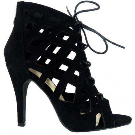 Wiązane sandały na szpilce (czarne)