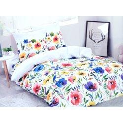 Pościel Satyna Bawełniana 160x200 Kolorowe Kwiaty WZ.1