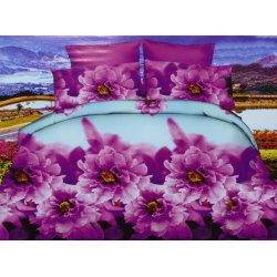 Pościel w fioletowe Kwiaty 3D 200x220 WZ. 9