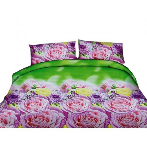 Pościel 3D Różowe Kwiaty 200x220 WZ. 15