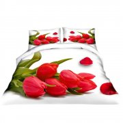 Pościel 3D Czerwone Tulipany 200x220 WZ. 16