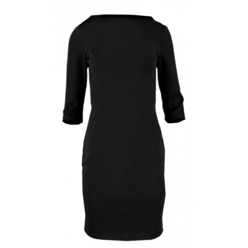 Ołówkowa sukienka z miękkiej dzianiny - polski producent- czarna