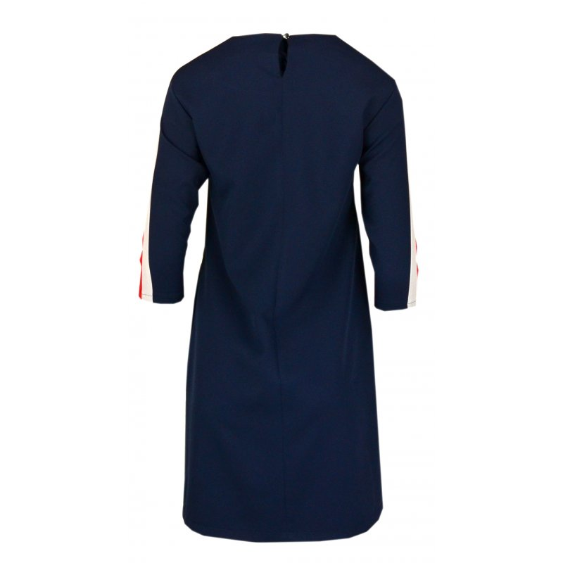 Sukienka z lampasami na ramionach- polski producent- granat