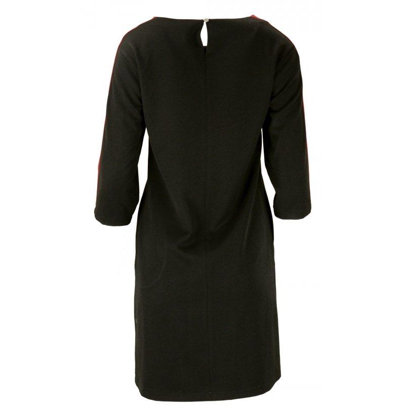 Sukienka z lampasami na ramionach- polski producent- czarna