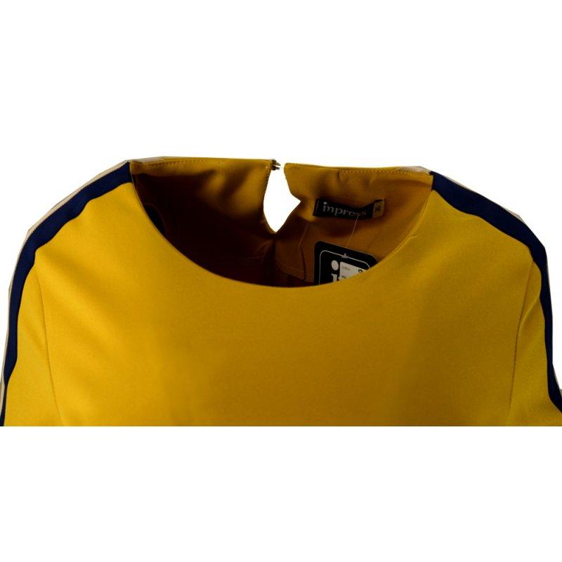 Sukienka z lampasami na ramionach- polski producent-żółta