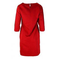 Sukienka z lampasami na ramionach- polski producent-czerwona