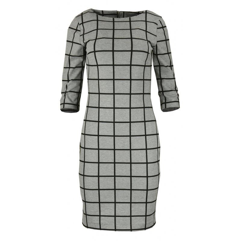 Sukienka ołówkowa w kratkę- polski producent- j. szary