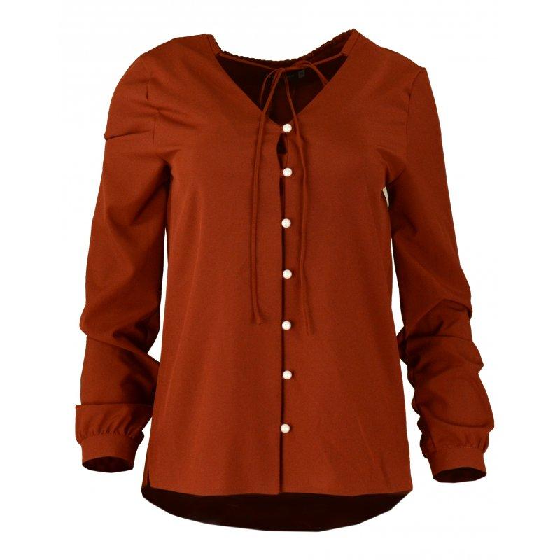 Bluzka koszulowa z wiązaniem i perełkami- polski producent- cegła
