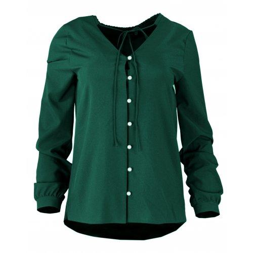 Bluzka koszulowa z wiązaniem i perełkami- polski producent- zieleń